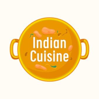 요리 팬 상위 뷰에서 인도 요리 레이블 수프입니다. 동양 레스토랑 아이콘 또는 흰색 배경에 고립 된 상징. 카페 메뉴 또는 국가 요리 축제 벡터 일러스트 레이 션에 대 한 인도 디자인의 음식
