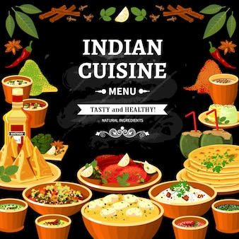 Indian cuisine menu black board poster