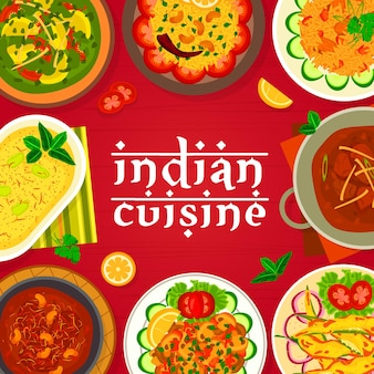 Indian cuisine menu cover vector template. deep fried peppers chilli bajji, lamb curry and meatballs gushtaba, yogurt dessert shrikhand, mushroom bhuna and lemon rice, chicken with spinach palak murgh