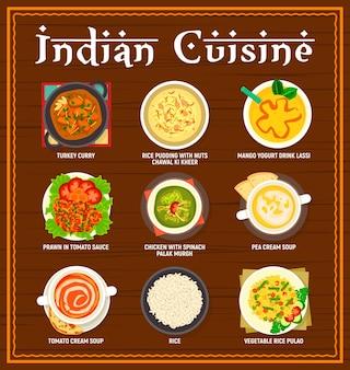 인도 요리 메뉴입니다. 칠면조 카레, 쌀 푸딩 차왈 키 키르, 망고 요구르트 라씨