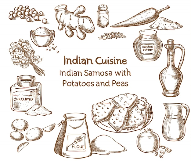Indian cuisine samosa with potatoes and peas ingredients