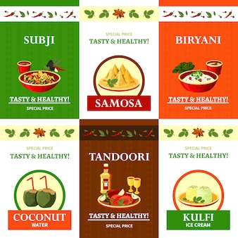Indian cuisine set banners