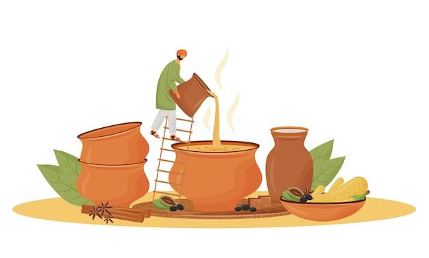 インド料理、ティーショップサービスの概念図。 webのマサラチャイの漫画のキャラクターを注ぐ男。独創的なアイデアを提供する伝統的な飲料、芳香族混合物