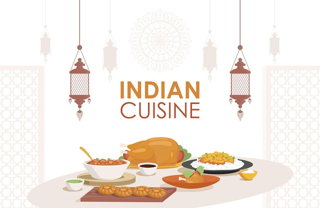 Indian cuisine vector flat poster design fresh and tasty indian
