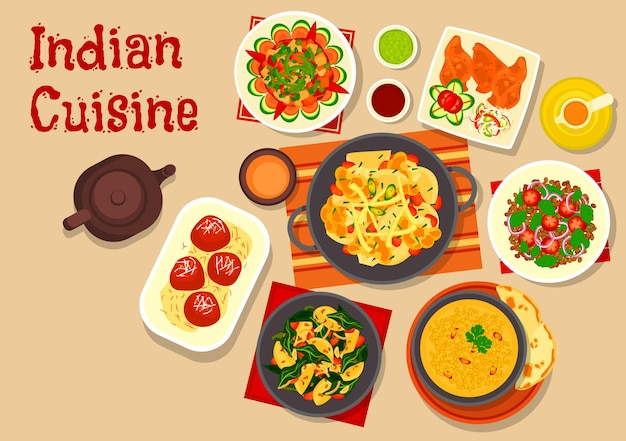 Indian cuisine vegetarian dishes with lentil soup, vegetable stew, green chatni, lentil tomato salad, potato spinach stew, cauliflower potato casserole and fried milk balls in sugar syrup