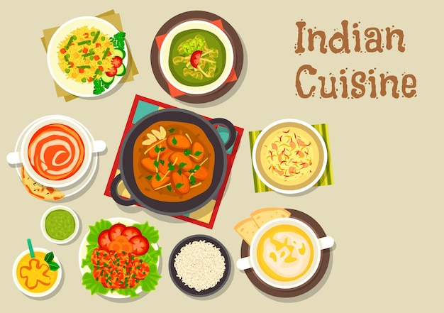 Indian cuisine vegetarian pilau rice served with turkey curry, prawn in tomato sauce, chicken spinach stew, tomato soup, pea cream soup, rice dessert with nuts, mango yogurt smoothie