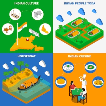 Indian culture isometric elements and characters