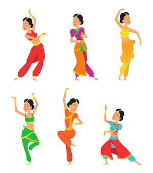 Indian dancers isolated. characters set