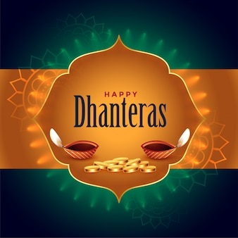 Indian dhanteras festival card with diya and golden coins
