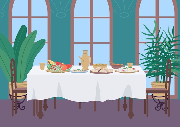 Indian dinner at home flat color illustration