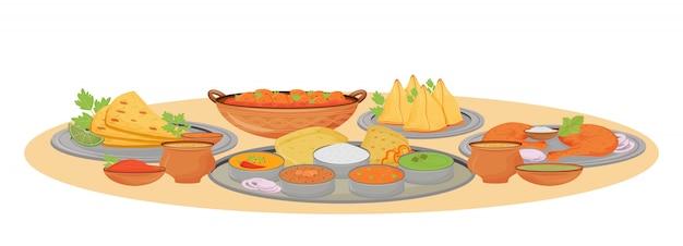 Indian dishes serving cartoon  illustration.