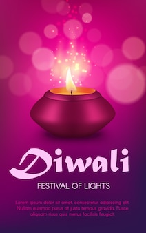 Indian diya lamp  design of diwali or deepavali hindu religion light festival. oil lamp or candle lantern of pink clay with burning fire flame and gold sparkles, festive greeting