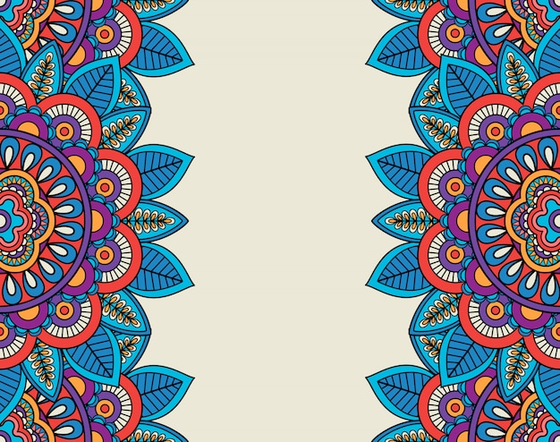 Indian doodle boho floral borders
