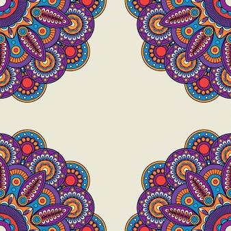 インドの落書き花の鮮やかな色のフレーム
