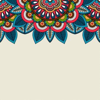 Indian doodle floral colored border