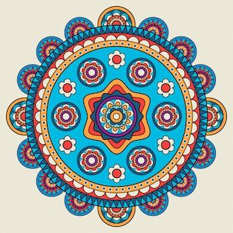Indian doodle mehendi colored mandala