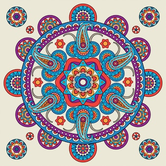Indian doodle paisley boho mandala
