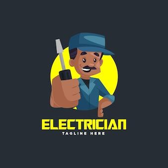 インドの電気技師のマスコットのロゴのテンプレート