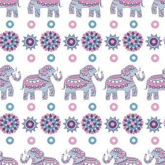 Indian elephant seamless pattern. animal decorated illustrations indian vector colored background