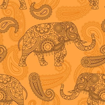 Indian elephant seamless pattern in indian style vector background