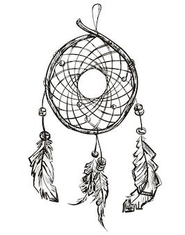 羽を持つインドの民族のドリームキャッチャー。ネイティブアメリカン。