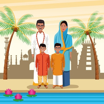 Indian ethnic people cartoons in city