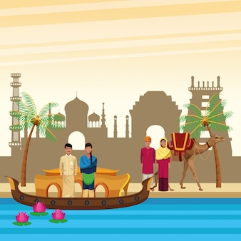 Индийские этнические люди мультфильмы в городе
