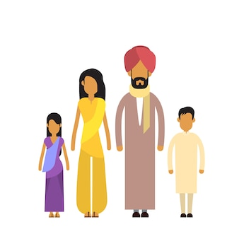 Indian family four people parents two children