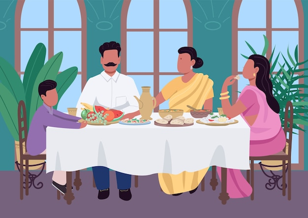 Indian family meal flat color illustration