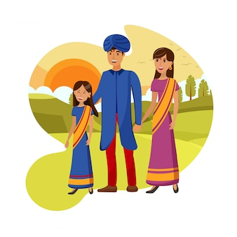 Indian family on nature walk vector illustration