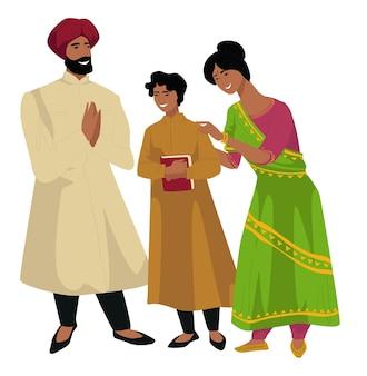 幼い息子と母と父のインドの家族