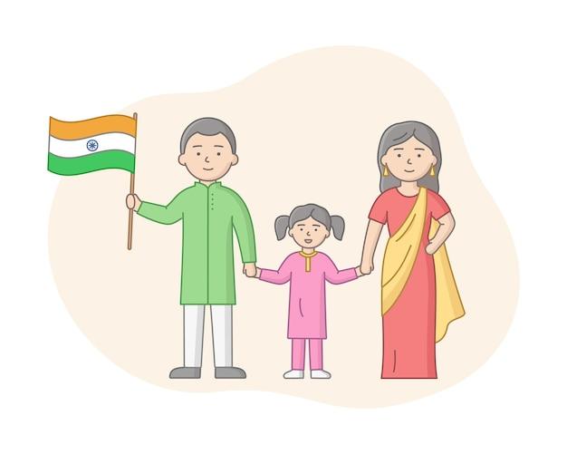 Индийская семья из трех человек, стоя вместе. отец, мать, дочь персонажей с контуром. мужчина держит флаг индии, все улыбаются. векторный мультфильм линейные иллюстрации.
