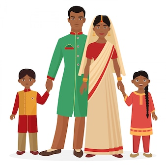 Indian family in traditional national clothes