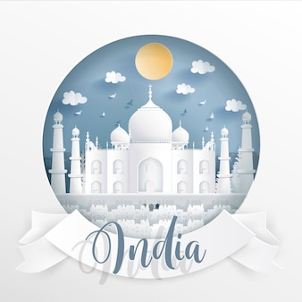 Indian famous landmarks with white frame and label.