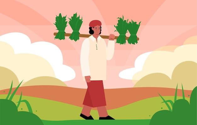 인도 농부는 쌀 다발을 운반하고 현장에서 작업합니다.
