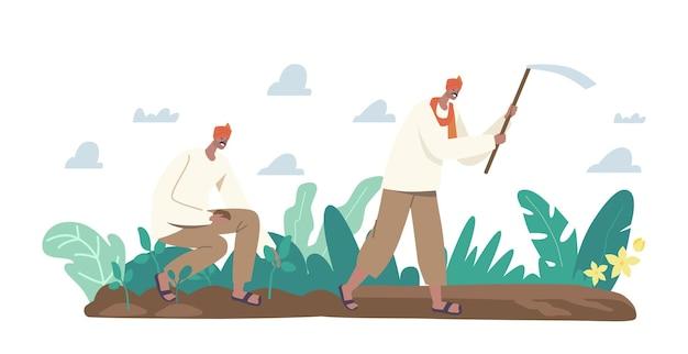 전통적인 옷을 입은 인도 농부 캐릭터는 괭이로 밭을 갈고 토양에 묘목을 심는 농장에서 일합니다. 농촌 남성 농업 노동자 농업. 만화 사람들 벡터 일러스트 레이 션