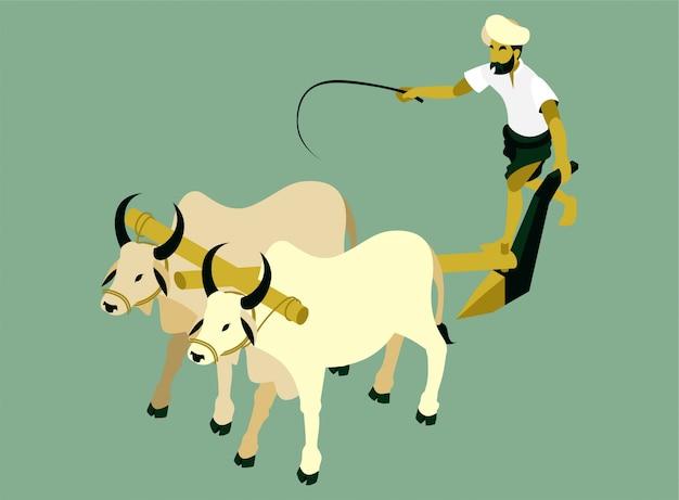 インドの農家は2頭の牛と畑を耕してアイソメ図 Premiumベクター
