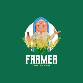 인도 농부 마스코트 로고 템플릿