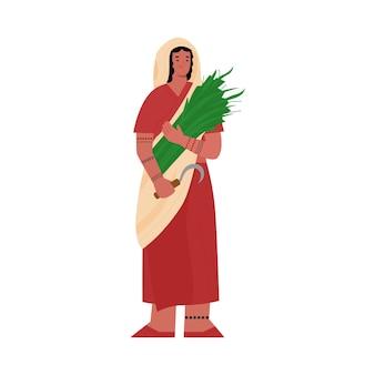 인도 농부 또는 농부 여자 만화 캐릭터