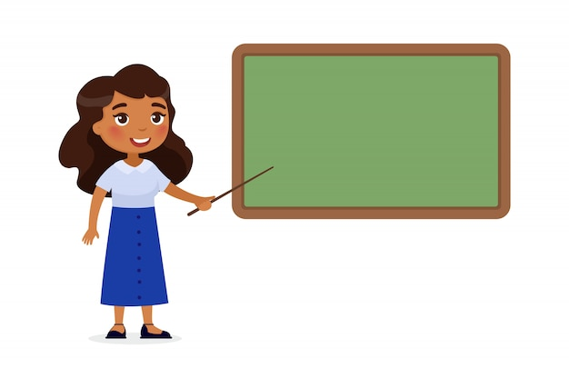 Indian female teacher standing near blackboard flat vector illustration.