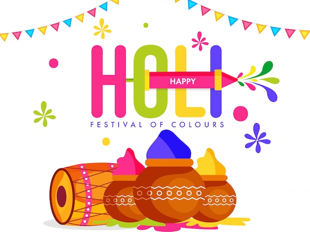 Indian festival of colors, holi illustration with traditional musical instrument, traditional pots, color powder, and color gun toy.