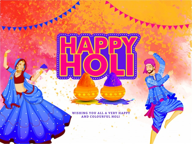 Indian festival of colors, holi illustration with traditional young couple dancing and powder color spread on background.