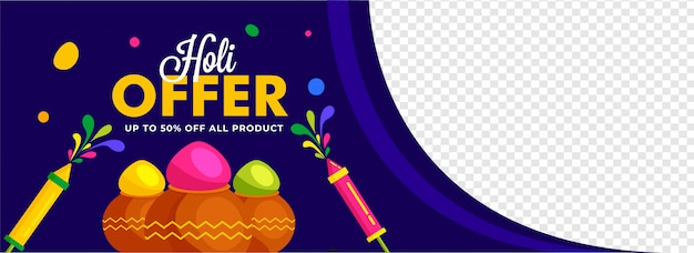Indian festival of colors, holi offer banner illustration with traditional pot, color powder, balloons.