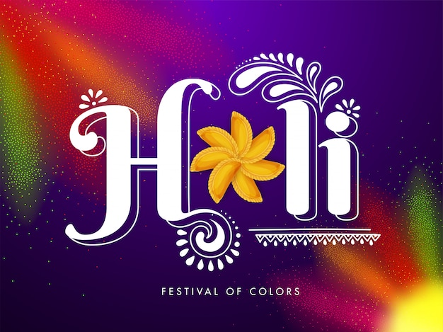 Indian festival of colors, holi text with traditional sweets on colorful background.
