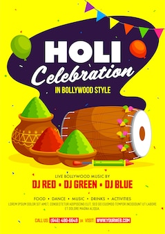 Indian festival of colours, happy holi celebration flyer with traditional musical instrument, colour powders and balloons.