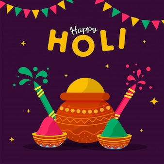 Indian festival of colours, happy holi illustration with traditional pot with colour powers and colour guns.