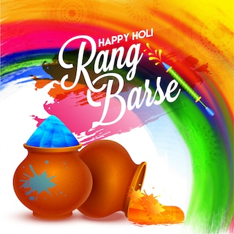 Indian festival of colours, happy holi illustrations with traditional colour pots with colour powders, colours splash and hindi text rang barse meaning colors raining.