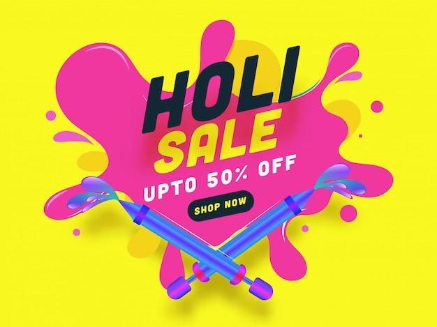 Indian festival of colours, holi sale illustration with colours splash spreading from colours guns toy.
