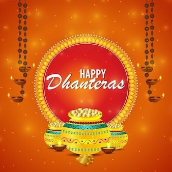 Indian festival happy dhanteras celebration card