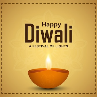 Indian festival of happy diwali celebration greeting card with illustration and background